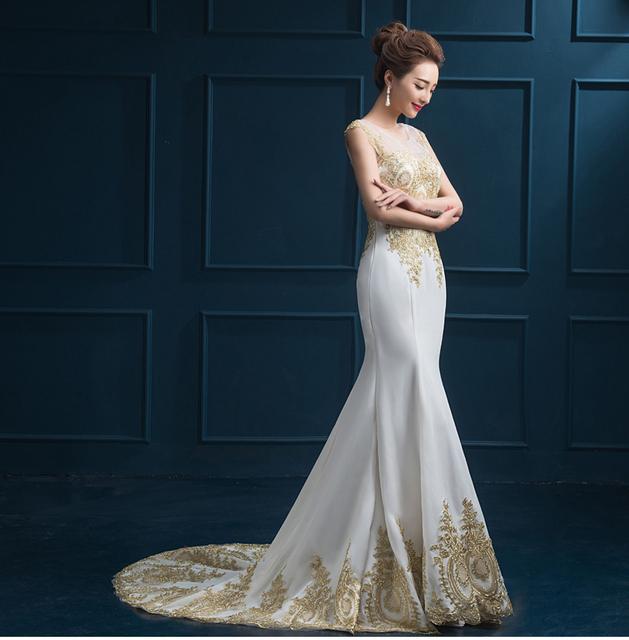 Горячие продажи роскошные вечерние платья See Through Назад вечернее платье золото ...