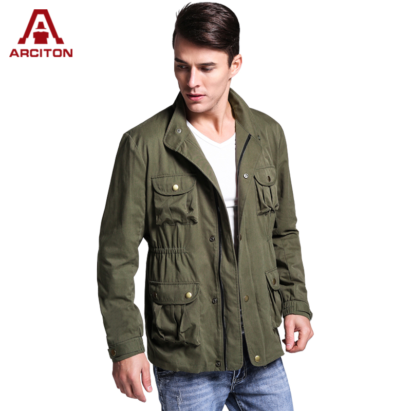 A ARCITON Fashion Design 4 Pockets Bomber Jackets Men Military Jacket Zipper Cotton Men Jacket Fall men's jacket Spring(N-826)(China (Mainland))