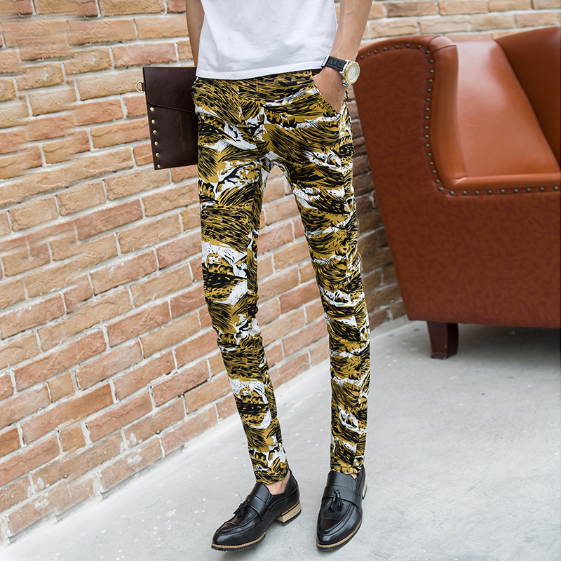 Trend summer 2015 men's slim yellow Camouflage pattern casual male personality pants skinny pants long trousers(China (Mainland))