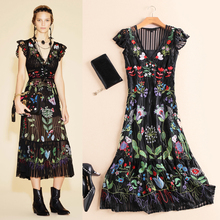 New Fashion Women Summer Dress 2016 Runway European Designer Vintage Embroidery long party style dress