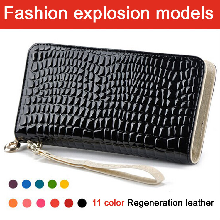 Hot Selling Standard Wallets Wristlet Bag, Fashion Women Patent PU Leather Day Clutches with Stone Pattern Purse,YW-DM921(China (Mainland))