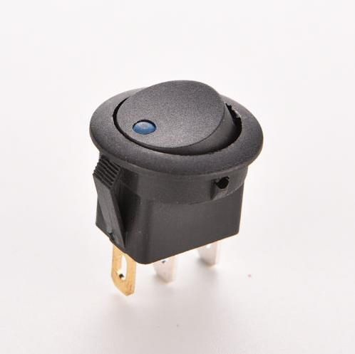1PC High Quality 12V 16A LED Dot Light Car Boat Round Rocker ON/OFF SPST Switch New Blue ON-OFF Push Button Switches(China (Mainland))