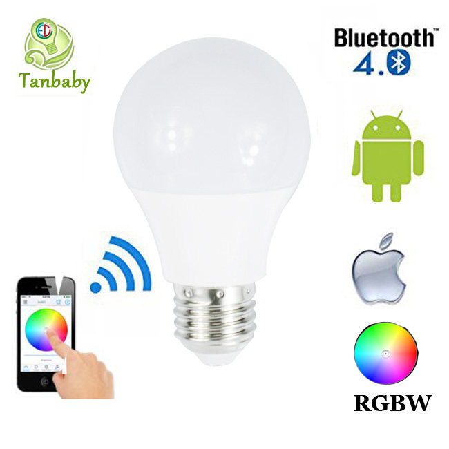 Tanbaby 4.5W E27 RGBW led light bulb Bluetooth 4.0 smart lighting lamp color change dimmable for home hotel AC85-265V(China (Mainland))
