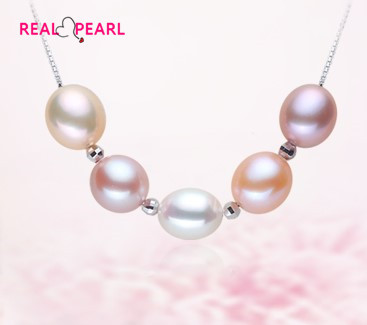 REAL PEARL 925 Sterling Silver Fashion Freshwater Pearl Necklace Chain Unique Designed Hot Gift Beautiful Necklace Jewelry(China (Mainland))