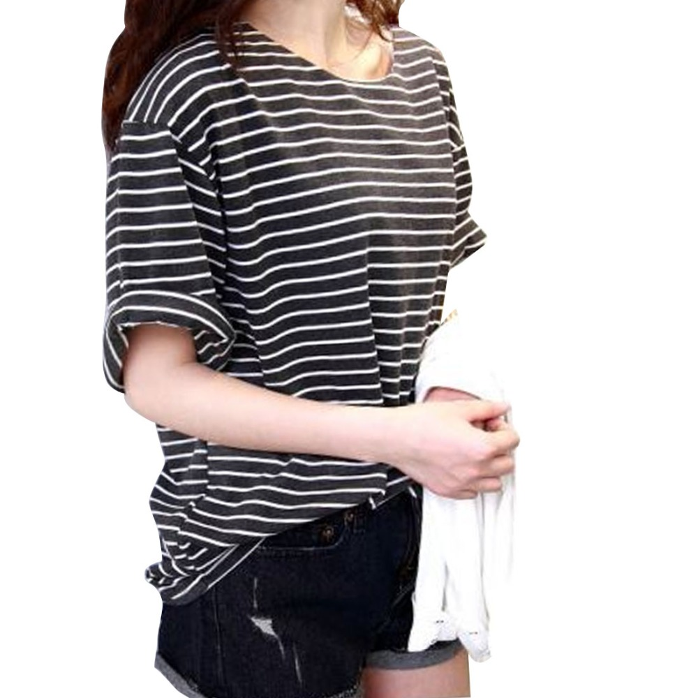 2016 tshirts femme women 39 s fashion t shirt all match batwing sleeve casual loose striped black. Black Bedroom Furniture Sets. Home Design Ideas