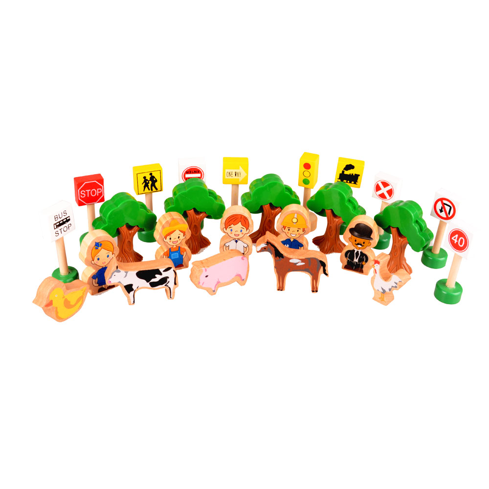 25pcs/lot Fashion Kids Wooden Traffic warning signs Wooden worker and Animail Toys For Tomas Railway Train Vehicle set(China (Mainland))