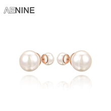New double ball Famous Luxury Designers Jewelry Front 2 Colors fashion Pearl Jewlery Perle brincos Earrings For Women 2020445200(China (Mainland))