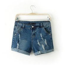 Hot selling2014 new arrival fashion slim women bleached washed hole cuffs jeans shorts casual style for girls clothing wholesale