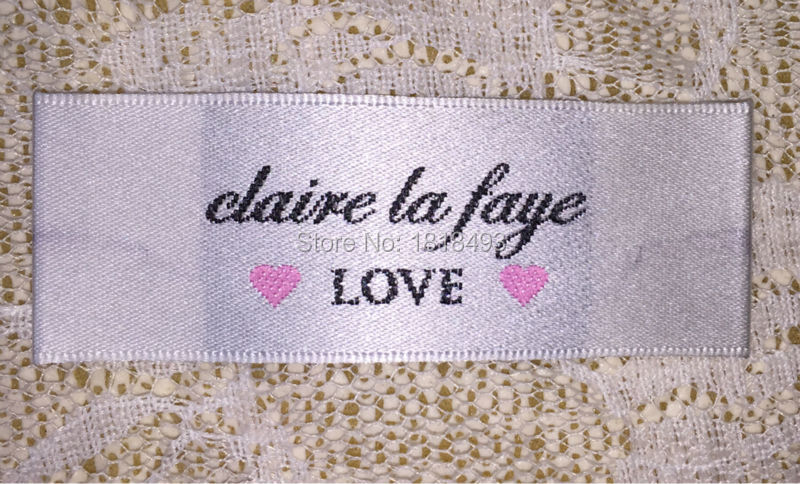 free shipping custom clothing white woven labels/garment satin woven tags/clothing tag printing/embroidered fabric label brand(China (Mainland))