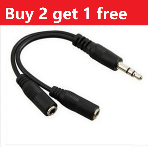 Buy 2 Get 1 Free Black 3.5mm 1 in 2 Couples Audio Line 15cm Earbud Headset Headphone Earphone Splitter For Tablet Phone MP3 MP4(China (Mainland))