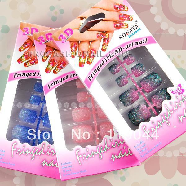 Free Shipping 3 x 24pcs set Pre-design Artificial nail toe Tips Fake Toe Nail Art NA573(China (Mainland))