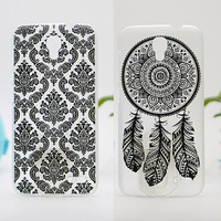 Case For Alcatel One Touch Pop 2 5042 5042D Black White Hollow Out Texture Coloured Drawing Phone Cover Plastic Hard Phone Cases
