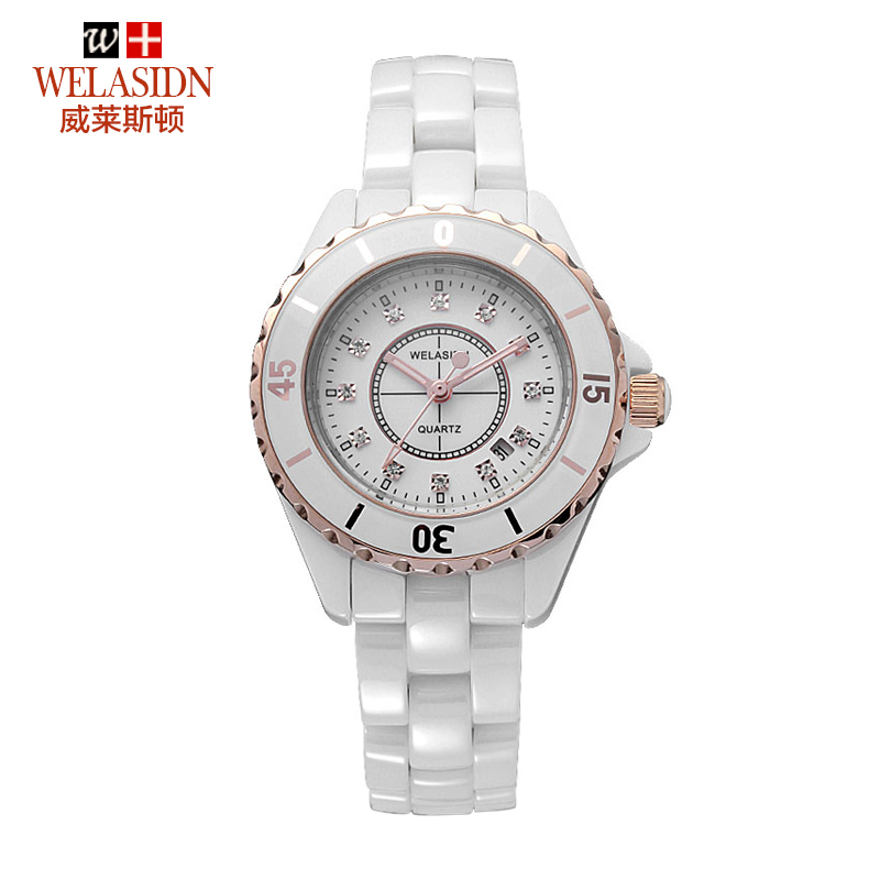 Free shipping - wholesale - Han edition fashion watches waterproof quartz watches WELASIDN ceramic female table rose gold ring(China (Mainland))