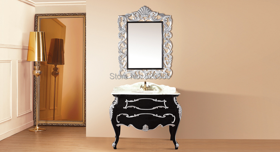 Black and leaf paint silver oak color jade marble cabinet for Black and silver cabinet