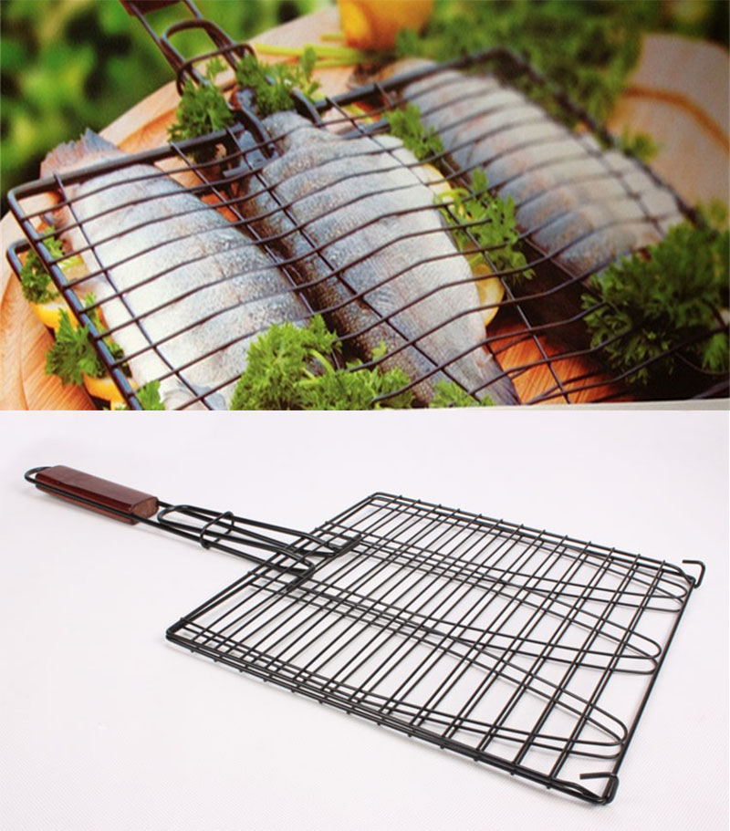 New diy non stick triple fish grilling basket w wood for Bbq fish grill