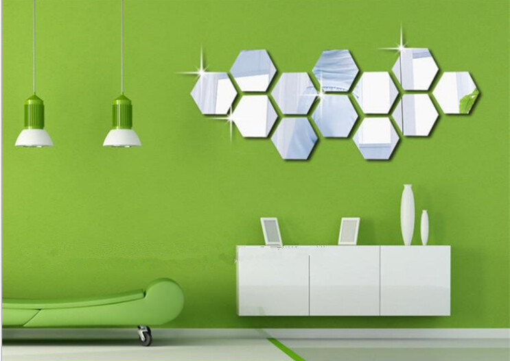 Hot Sale 3d Stickers Acrylic Mirror Hexagon Living Room Wall Decals diy Mirror Wall Stickers home decor(China (Mainland))