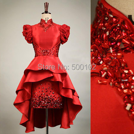 2015 Red Girl's Pageant Dresses Hi Lo Pantern Sleeves Crystal in Bodice Cute Girl's Dress(China (Mainland))
