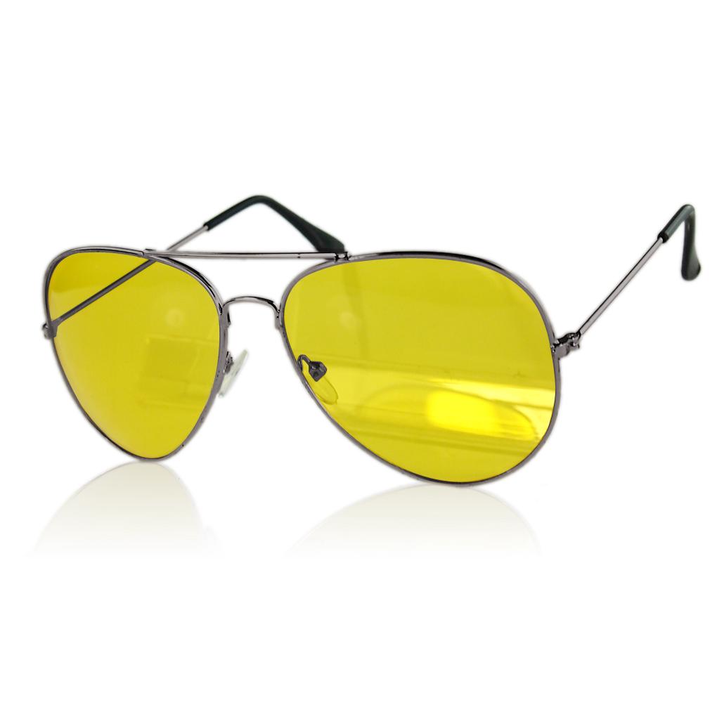 Large Yellow Frame Sunglasses : UV400 HD Night Vision black frame Sun Glasses Yellow ...