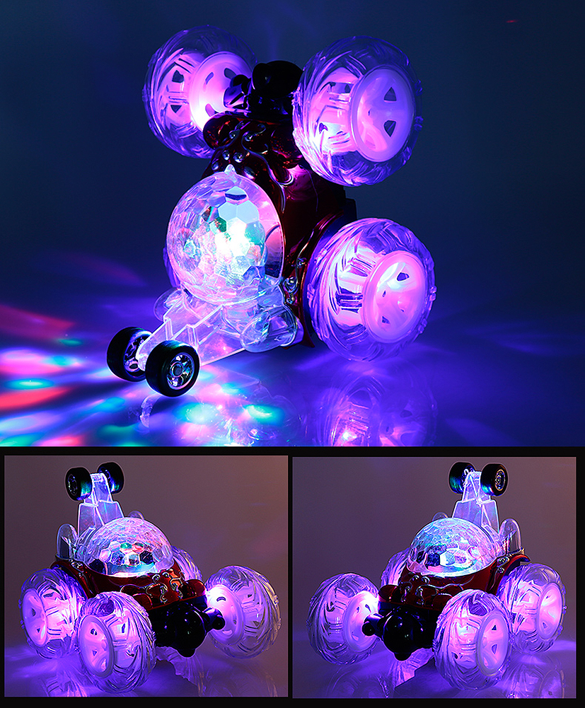 Free Shipping RC Rolling Stunt Car with LED light and music & Remote Control Car Durable Rechargeable
