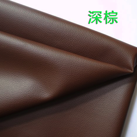 The price of half a meter deep brown pu leather fabric small embossed faux leather automotive leather soft leather bag(China (Mainland))