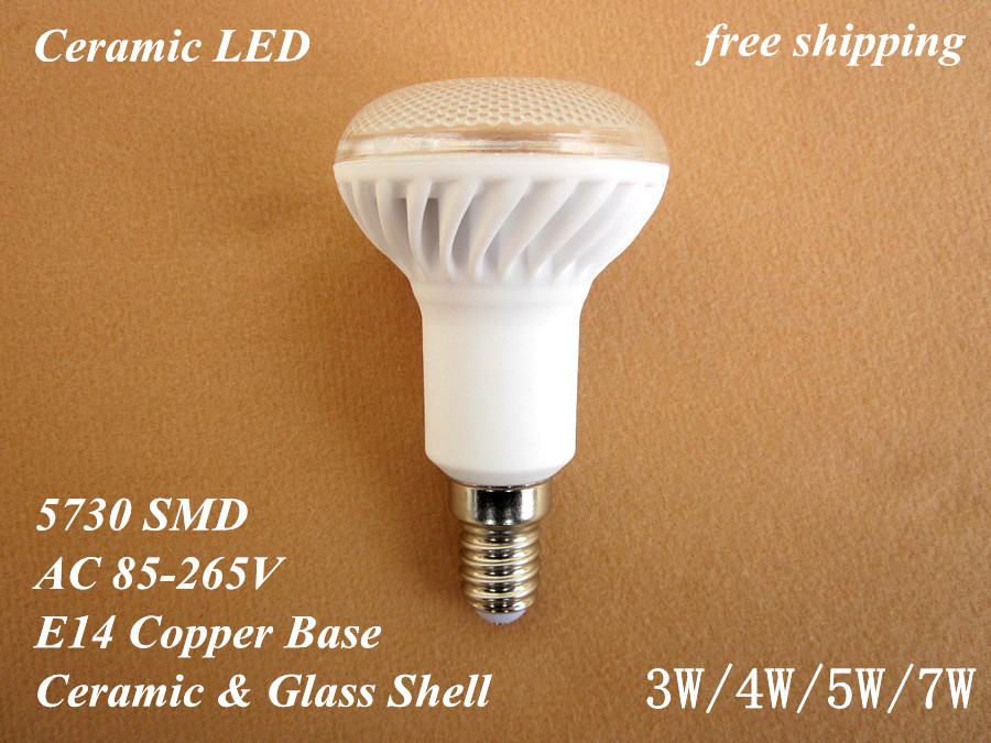 6 pcs free shipping 110V/220V/230V/240V E14 3W/4W/5W/6W/7W ceramic LED bulb lamp light 5630/5730 SMD warm/cold white R50(China (Mainland))
