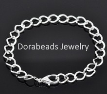 """12 Silver Plated Lobster Clasp Chain Bracelets 7-7/8"""" (B14183), yiwu(China (Mainland))"""
