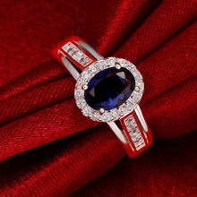 925 Silver Filled ruby jewelry wedding rings For Women crystal bague oval cz diamond Bijoux new