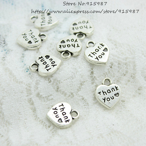 Wholesale 80pcs/lot 10*12.5mm two Color Metal Alloy Thick Hearts Alphabet Letter Thank you Charm D0599(China (Mainland))