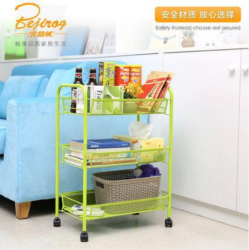 Free shipping 2015 Kitchen multi-function layer wearing shelf receive sundry frame storage shelf rack on top mobile cart(China (Mainland))