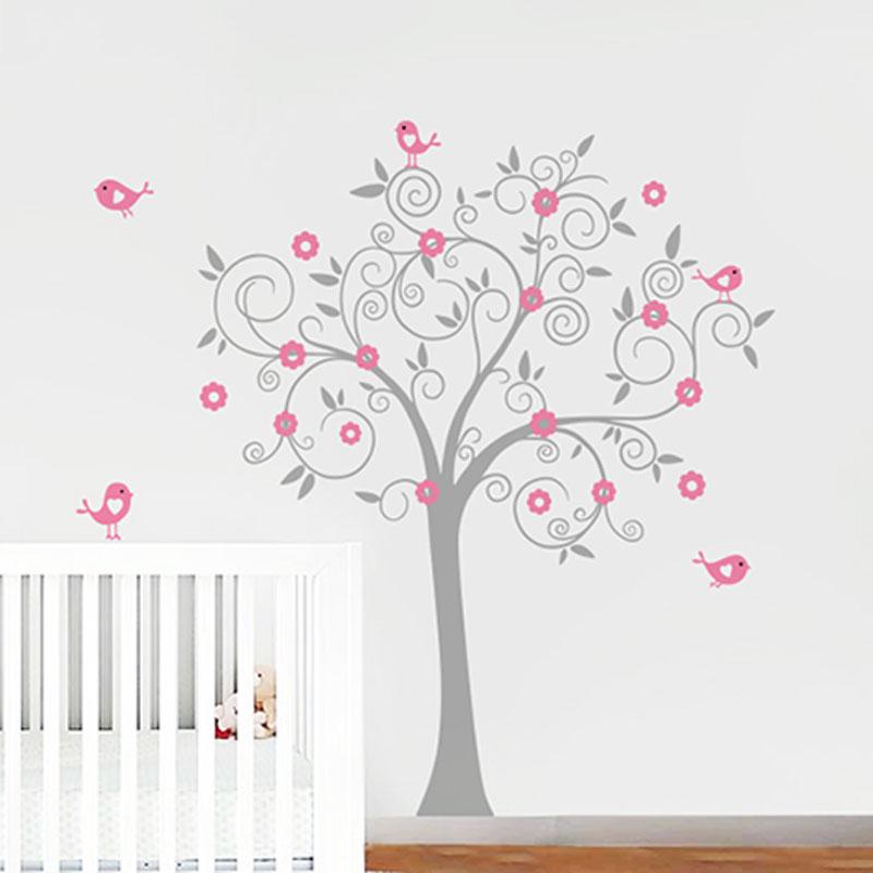 Arbre oiseaux wall sticker arbre stickers muraux nursery - Sticker chambre bebe fille ...