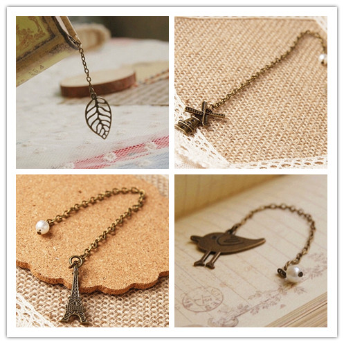 Гаджет  Handmade Retro cute bookmarks alloy bird leaf chain book markers pearl tower windmill nice Book accessories marcadores None Офисные и Школьные принадлежности