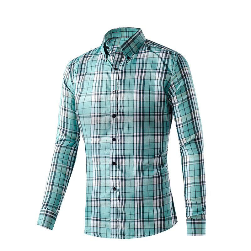 Plus Size M-XXXL New Style Quick Dry Men Chemise Homme Polyster Slim Fit Tops Men's Shirt Casual Long Sleeve Plaid Dress Shirts(China (Mainland))