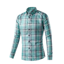 Plus Size M-XXXL New Style Quick Dry Men Chemise Homme Polyster Slim Fit Tops Men's Shirt Casual Long Sleeve Plaid Dress Shirts