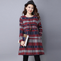 2016 Autumn New Fashion High Quality Large Size Women Dress Long Sleeve O neck Sanding Dress