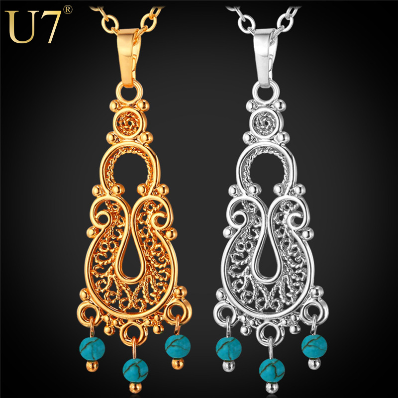 Turquoise Bohemian Necklace Women Accessories 18K Gold/Platinum Plated Fashion Necklaces For Women 2015 Turkish Jewelry P638(China (Mainland))
