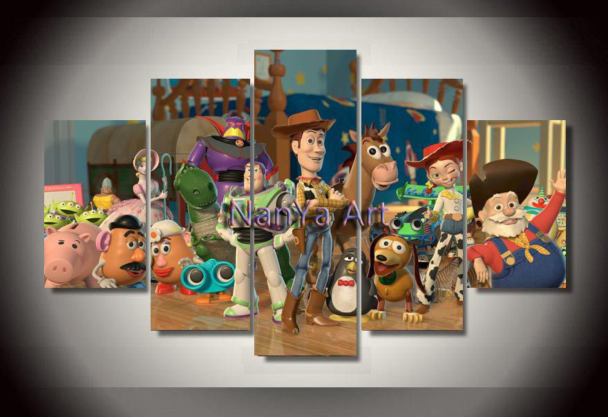 2015 Pixar toy story painting on canvas wall art of 5 pieces canvas picture for wall decor frameless(China (Mainland))