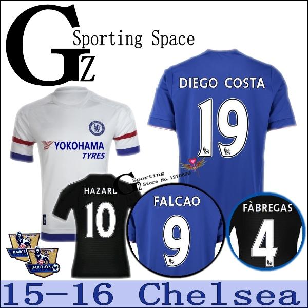 2016 Chelsea Jersey 15 16 Chelsea Camiseta HAZARD FABREGAS DIEGO COSTA MATIC Home Away Football Shirt FALCAO 2015 Sportswear(China (Mainland))