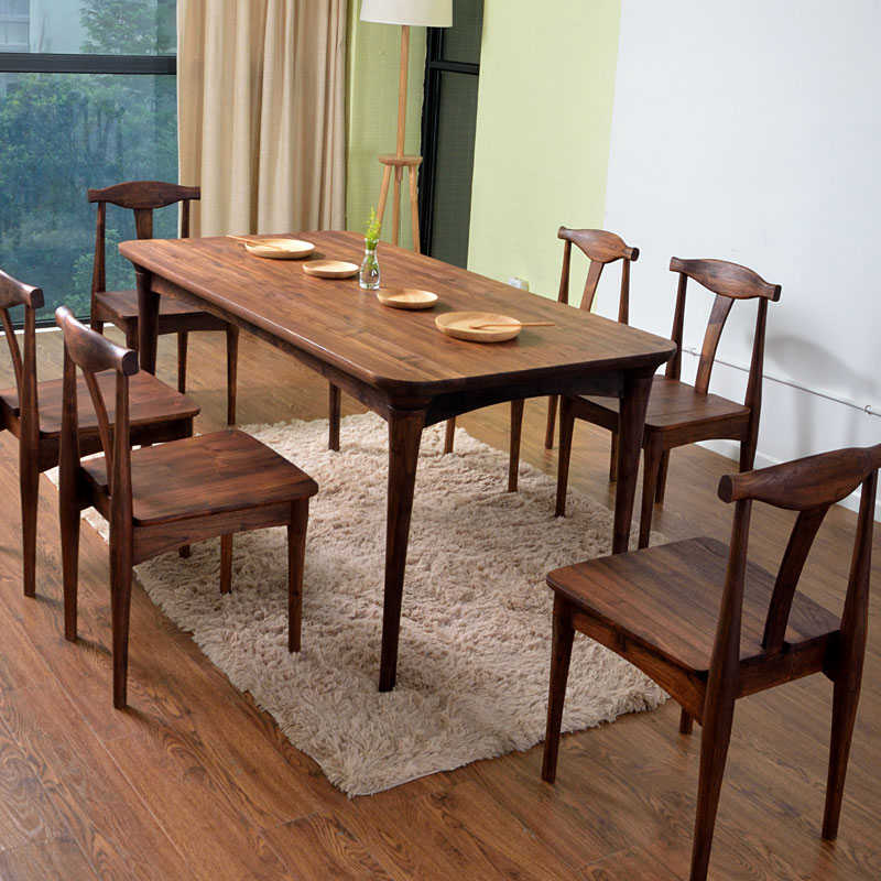 All solid wood dining table dinette combination ash for All wood dining room chairs