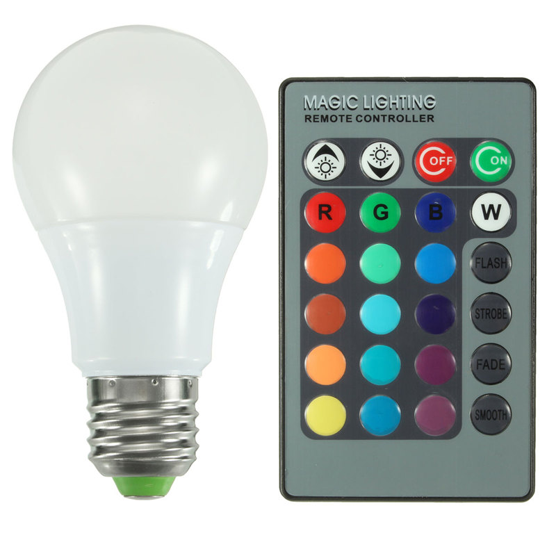 Lowest Price 5W 10W 20W E27 RGB 16 Color Changing LED Globe Light Lamp Bulb AC85-265V With 24 Keys Remote Control(China (Mainland))