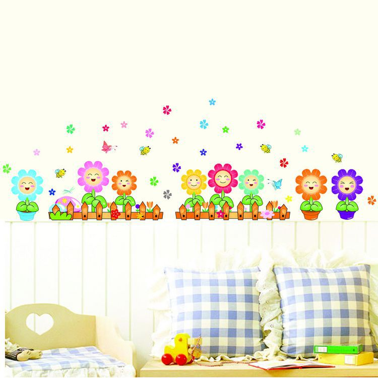 Wholesale children's cartoon Wall Stickers Wall Decoration map sun flower baseboard living room wall DLX516W(China (Mainland))