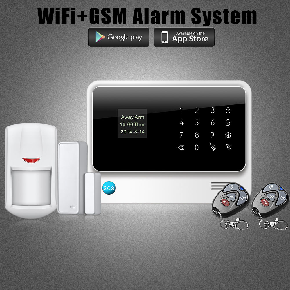 2015 new product wireless WiFi GSM GPRS Office Home Security Alarm System Wireless relay output PIR Detector Door Sensor<br><br>Aliexpress