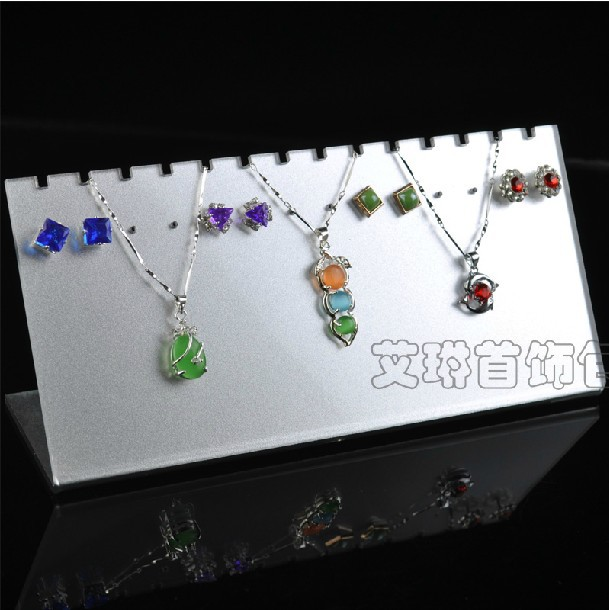 Free Shipping 2pcs/lot 19.5x6x9.5cm Acrylic Necklace/Stud Earring Displays Board Jewelry Display Stand Jewelry Display Holder(China (Mainland))