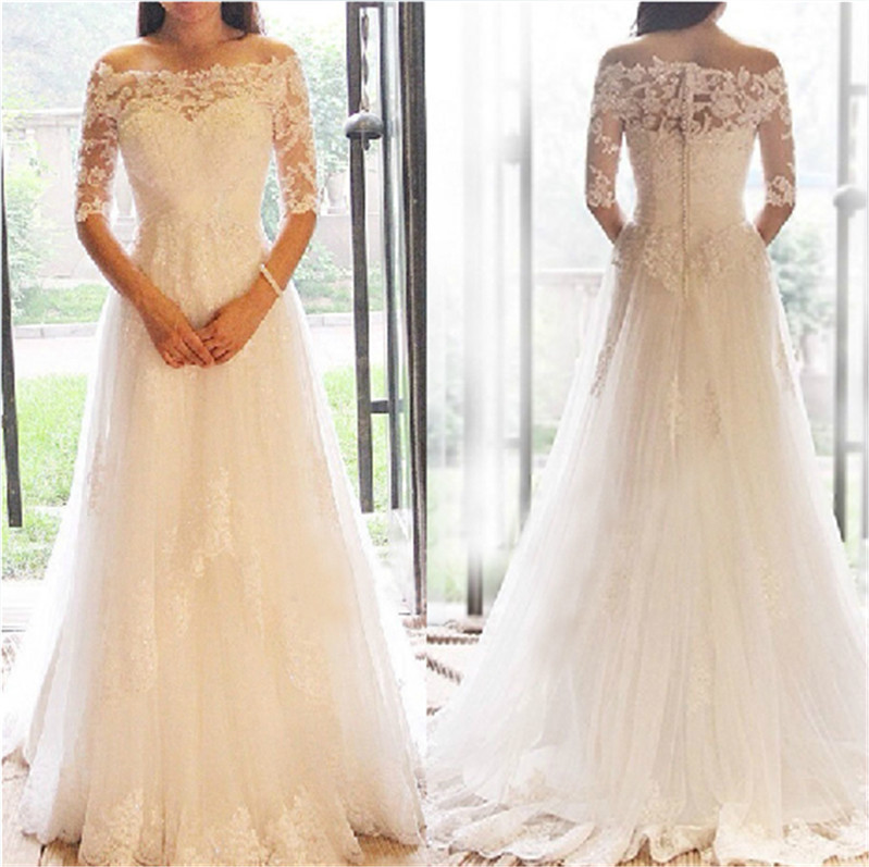 Off the shoulder white lace applique bridal dresses sweep for Wedding dresses off white lace