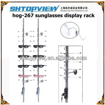 LOC-C-12PC-120CM Silver Metal Lockable Sunglasses Display Rack , Length of 120 centimeter ,  Hold 12 Pcs Eyewear