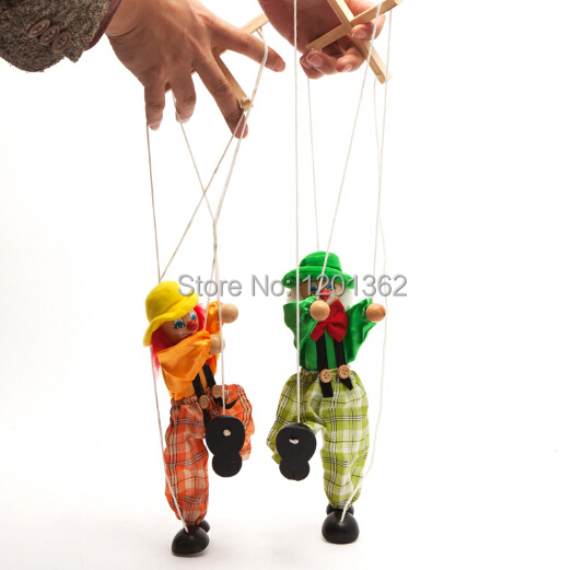 Marionette Puppet Shadow Play Clown Kids Child Baby Wooden Funny Traditions Classic Toy(China (Mainland))