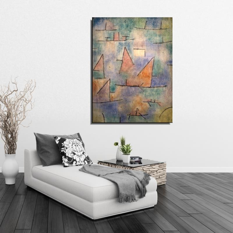 Graffiti harbor with sailing ships Seascape Abstract Paul Klee Unframed Spray Frameless Oil Painting Canvas hologram art(China (Mainland))