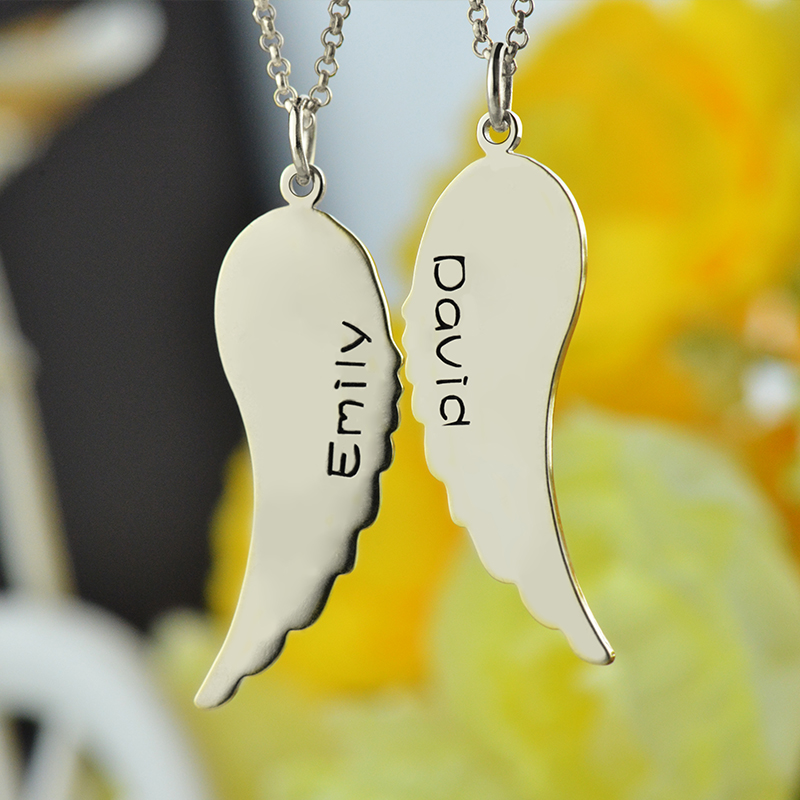 Wholesale Personalized Any Name Necklace Silver Angel Wings Necklace I Cannot Fly Without You Two Name Necklace Memorial Jewelry(China (Mainland))