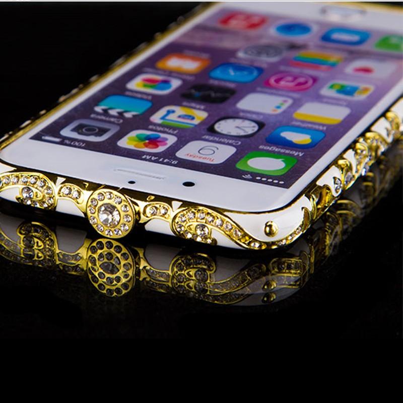 Vintage Retro Luxury China Ceramic Rhinestone Bling Case Diamond Aluminum Metal Bumper Frame Cover 4.7'' for Apple iphone 6 6S(China (Mainland))