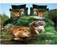 High Quality Bedclothes 3D Beauty of Jungle 4PCS Bedding Set King/Queen 1 PC Bed sheet/1PC Comforter Cover/2 PCS Pillow Covers(China (Mainland))