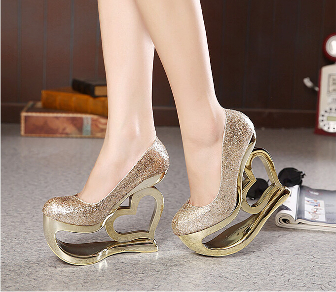 2015 New Arrival Gold Shine Heart Wedges Pumps Women High Heels Pump Shoes Lady Party/Club 15cm Heel Pumps Shoe Drop shipping(China (Mainland))
